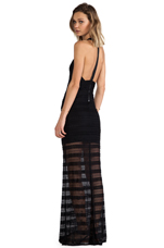 Lavinia Leather T-Back Maxi Dress in Black