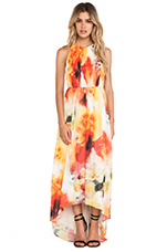 Ryan High Neck Leather T-Back Maxi Dress in Sunset Blur