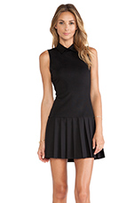Collared Pleated Drop Waist Dress in Black
