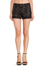 Leather Laser Cut Shorts in Black