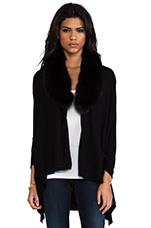 Izzy Cascade Fur Cardigan in Black