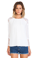 Danyelle Lace Shoulder Pleat Front Blouse in White