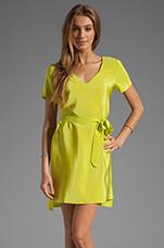 Silk V Neck T Shirt Dress in Lime