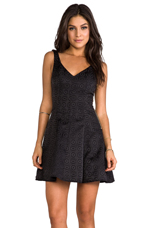 Brocade Fit & Flare Dress in Black Floral