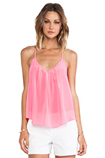 Button Back Cami in Pink Ribbon