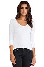 Jacksonville V Neck Long Sleeve Shirt in White