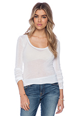Massachusetts Round Neck Long Sleeve Shirt in White