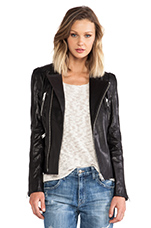 Structured Leather Jacket in Black