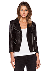 Cropped Leather Jacket in Black