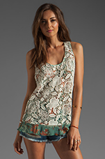 Filigree Print Crinkle Chiffon and Lace Top in Jade Multi