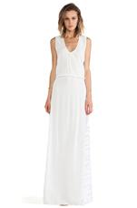 Pat V Neck Maxi Dress in White Safari