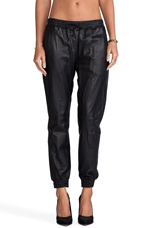 Cober Leather Track Pant in Lazer Black