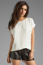Ibbie Distressed Leather Shorts in Black