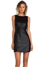 Branson Faux Leather Circle Pailette Dress in Black