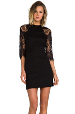 Princeton Ponte Dress w/ Lace Sleeves in Black