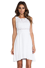 Sela Mini Dress w/ Lace Top in Optic White