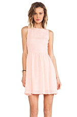Lola Feathered Chiffon Dress in Peach