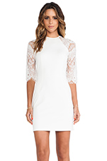 Princeton Ponte Dress w/ Lace Sleeves in Ivory