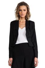 Heiner PU Suiting Twill Blazer in Black