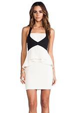 Peplum Dress in Cream Combo