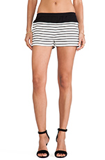 Teagan Striped Shorts in Off White & Black Combo