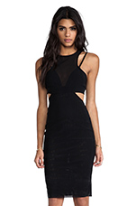 Kathy Mesh Body Dress in Black