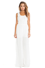 Racer Back Cut Out Jumpsuit in Off White