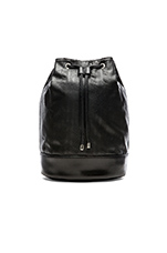 Faux Leather Backpack in Black