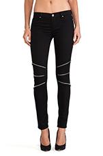 Skinny Zip Pants in Black Teeth