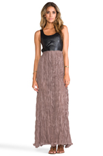 Leather Detailed Backless Dress in Black/Wood
