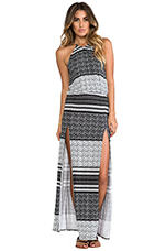 Halter Two-Slit Maxi Dress in Aztec Stripe