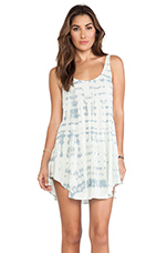 Babydoll Tank Dress in Light Blue & White Ripple