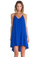 Crepe Trapeze Dress in Sapphire