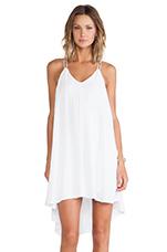 Crepe Trapeze Dress in White