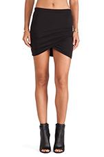 Shirred Cross Front Skirt in Black