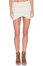 Shirred Cross Front Skirt in Whisper Stripe