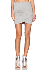 Shirred Cross Front Skirt in Heather Grey