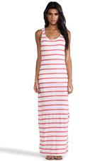 Linen Stripe Maxi Dress in Neon Candy & White