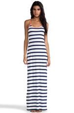 Light Weight Jersey Stripe Maxi Tank Dress in Marina & White & Tetra