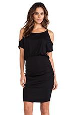 Jersey Open Shoulder Dress in Black