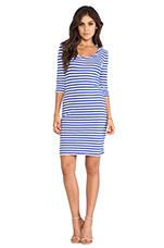 Light Weight Jersey Stripe Dress in Ultrablue & White