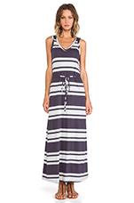 Light Weight Jersey Striped Maxi Dress in Deep Grey & Shore