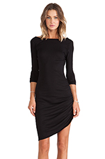 Light Weight Jersey Asymmetrical Dress in Black