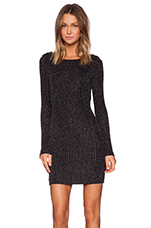 Metallic Long Sleeve Boucle Dress in Silver