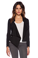 Knit Boucle Cross Front Jacket in Black