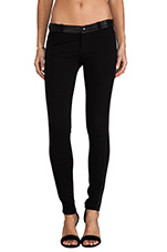 Legging with Leather Detail in Black