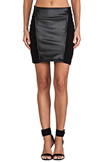 Skirt with Leather in Black