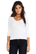 Light Weight Jersey V Neck Long Sleeve in White