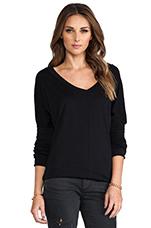 Long Sleeve Jersey V-Neck in Black