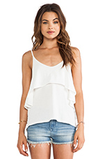 Light Weight Jersey Ruffle Tank in Light